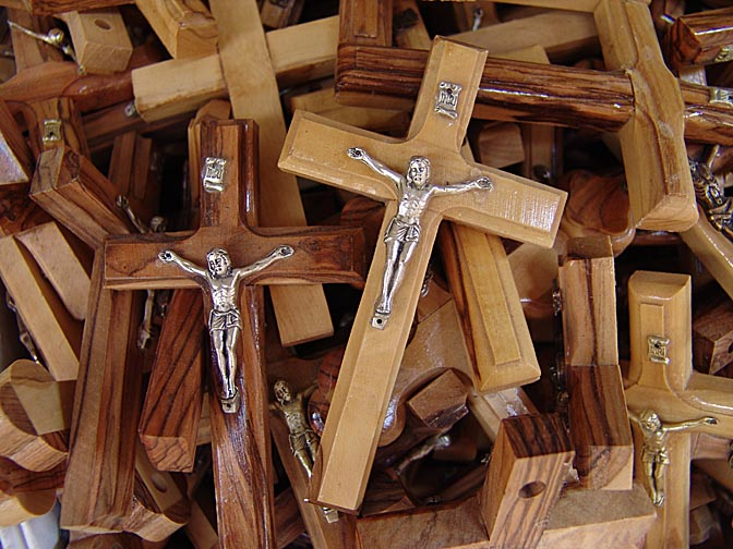 Christian crosses made from olive tree, in a market stand in Christian street, The Old City 2006