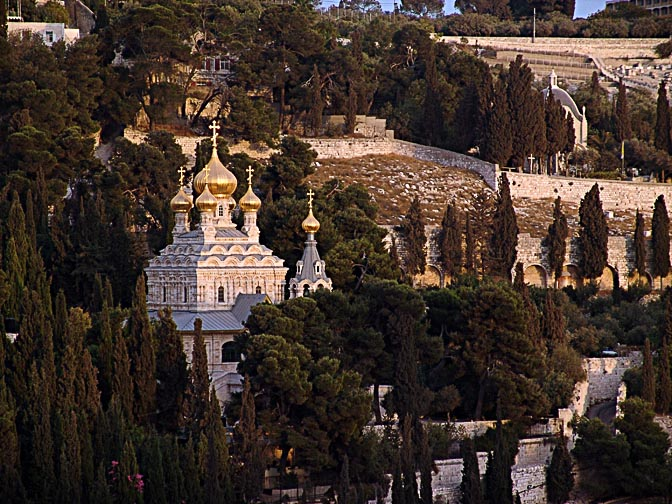 The golden onion domes of The church of Saint Mary Magdalene, reflecting the setting sun, Mount of Olives, 2006