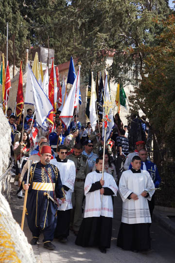 Flag bearers in the Catholic and Protestant procession, Mount of Olives  2012