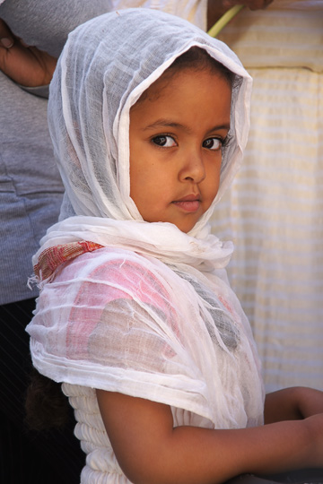 A beautiful Ethiopian girl in the Ethiopian village of Deir al Sultan, Jerusalem 2012