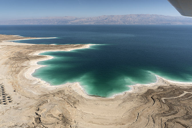 The Dead Sea retreat north of Masada, a view from the air, 2017