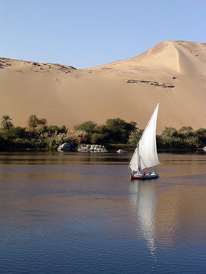 A Felucca (a traditional wooden sailing boat) on the Nile, Luxor 2006