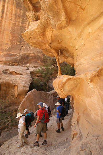Trekkers at the southern exit from Siq El Barid (Little Petra), 2009