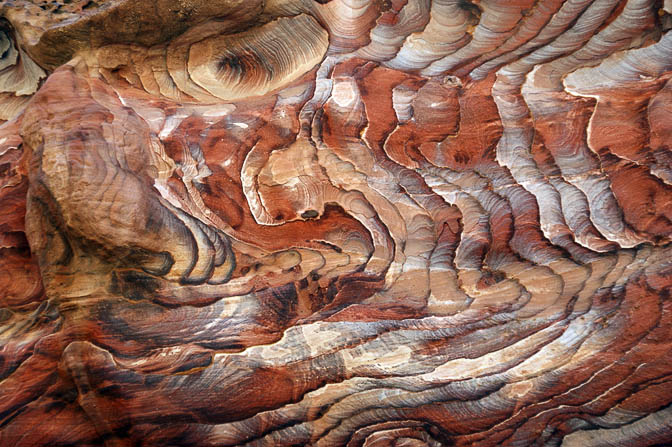 Spectacular patterns of multicolored sandstone in Wadi Rueiba, 2010