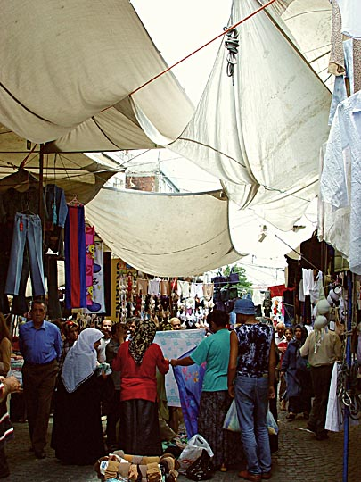The narrow streets of Istanbul form one huge market, 2003