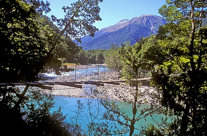 The blue pools of the Makarora River, Lake Wanaka, the South Island 1999