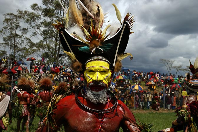 A Huli Tribe man in a ceremonial wig, Mount Hagen Cultural Show 2009